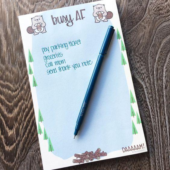 Busy AF notepad